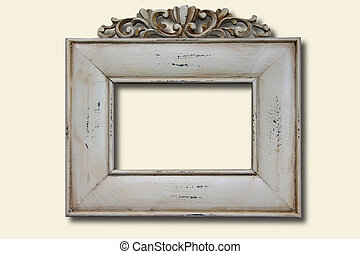 White wooden photo frame - Wooden vintage photo frame with...