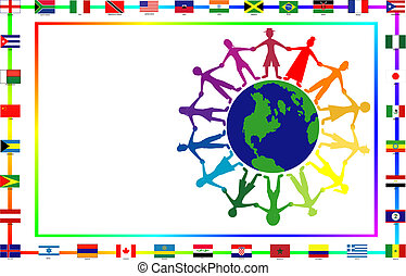 Cultural people with flags - Vector Illustration for...