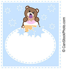 baby bear - celebration card with a cute little brown baby...