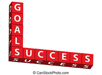 Goals and Success - Red blocks spelling goals and success on...