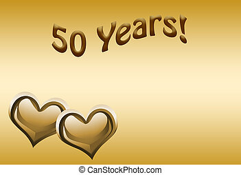 50th Anniversary - The numbers 50 in gold with hearts on a...