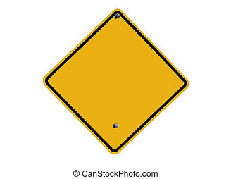 Blank Isolated Road Sign - Blank caution sign in bright...