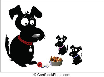 black dog family with son and daughter and kibble in bowl