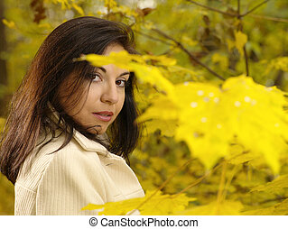 Pretty adult woman outdoor portrait