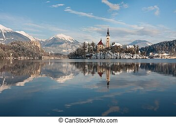 Lake Bled, Slovenia - View on lake Bled with small island...