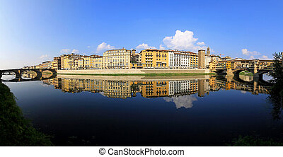 Arno river Florence - Panorama of Florence ant two bridges...