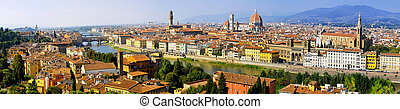 Florence aerial - Florence Italy at sunny day cityscape...