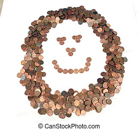 Coin smiley face - Pennies forming a smiley face on white
