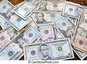 Money, money, money - American colorful paper money