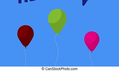 Happy Birthday Balloons - Happy birthday balloons on a blue...