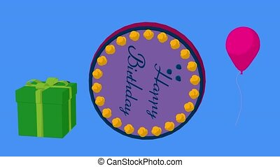 Happy Birthday - Happy birthday cake on a blue background