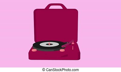 Record Player - Record player on a pink background