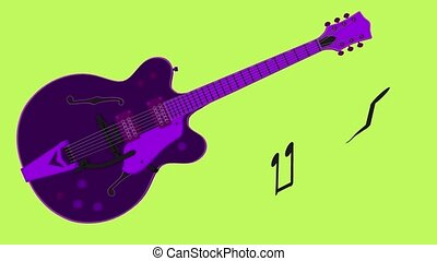 Music notes and a guitar on a green background