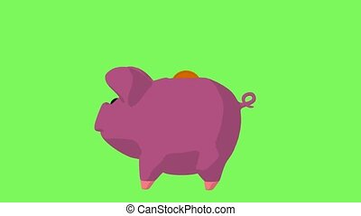 Piggy Bank - Pink piggy bank on a green background