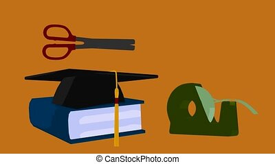 Back To School - Graduation cap on an orange background