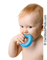 Baby chewing toy - Six month Baby chewing toy isolated on...