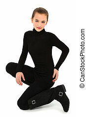 Girl in Black on White - Beautiful 10 year old girl in black...