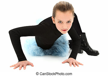 Tomboy Girl in Biker Boots and Tutu - Beautiful 10 year old...