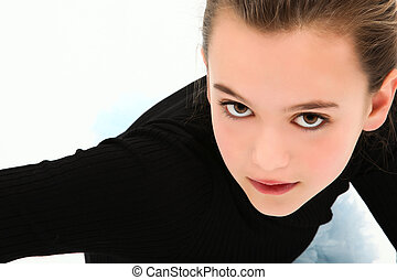Dramatic Headshot Tween Girl - Beautiful 10 year old tween...