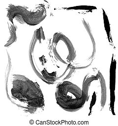 Brush strokes - Black brush strokes isolated on white...