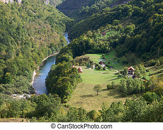 Small settlement in mountains - Tara river gorge in...