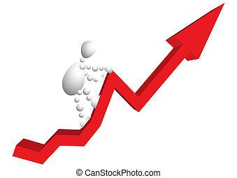 Man climbs a mountain as red arrow-diagram. Abstract...