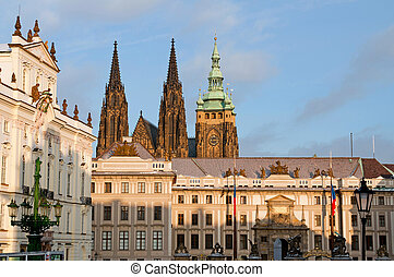 Prague Castle, main entrance, picture taken in sunny winter...