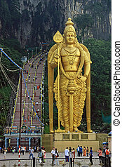 Batu Caves - The entrance to the Batu Caves near Kuala...