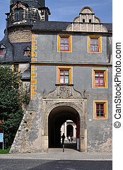 castle foreshortening, weimar - portal and facade of ancient...