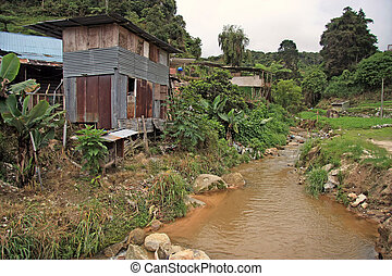 Slums near a brook somewhere in Malaysia
