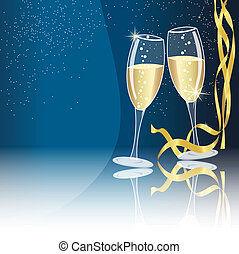 Champagne glasses on blue background with some golden...