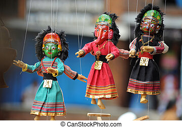 Marionette in Kathmandu Nepal - Jointed puppet manipulated...