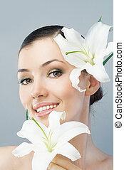 flower girl - beauty flower girl on the blue background