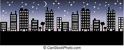city skyline - silhouette of a city skyline