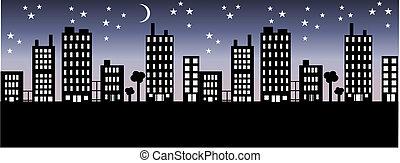 Miasto, sylwetka na tle nieba