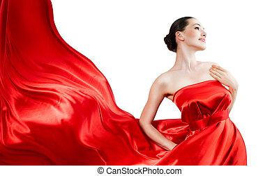 long dress - beautiful young woman in red long dress