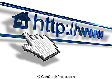Hand cursor pointing homepage addre - Mouse hand cursor...
