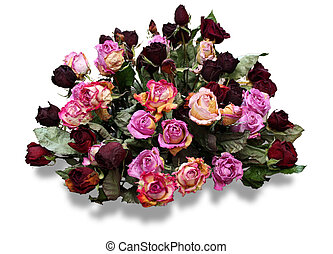 Bunch of dried roses - Bunch of dry red and pink roses