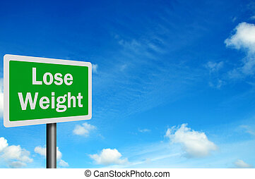 Photo realistic 'lose weight' sign, with space for your text...