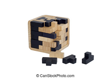 Intelligence game made with wooden pieces. Logic puzzle