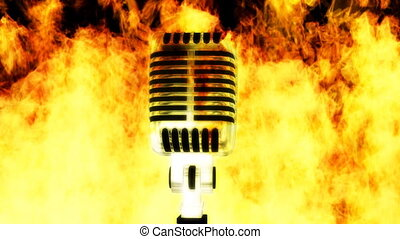 Burning Mic Music Loop - Looping Burning Microphone Backdrop
