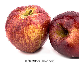 Two red apples - Two tasty red apples on white background