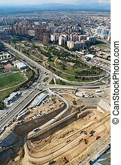 Madrid works - aerial view of a big construction work