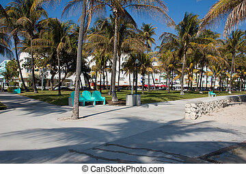 Miami Beach shore line - The walkway in front of the beaches...