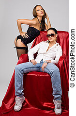 Young tomboy and beauty girl in lingerie - Young tomboy on...
