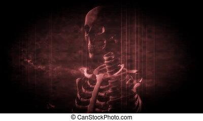 Skeleton Grunge in Dark Red Loop - Looping Skeleton Grunge...