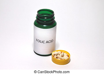 Folic Acid Tablets,White Background