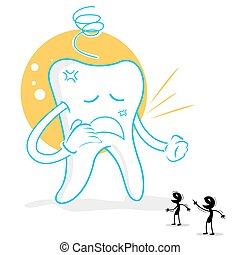 upset teeth with germs - illustration of upset teeth with...