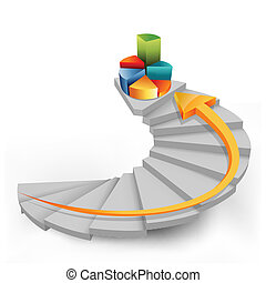 pie chart in steps with arrow - illustration of pie chart in...