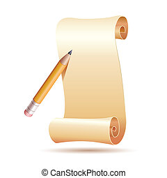 paper and pen - illustration of paper and pen on white...
